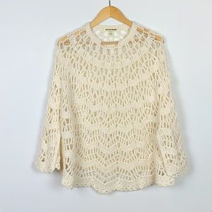LOVE BY DESIGN cream crochet style poncho size OS